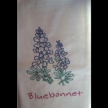 Austin & Texas Bluebonnet Embroidered Tea Towel