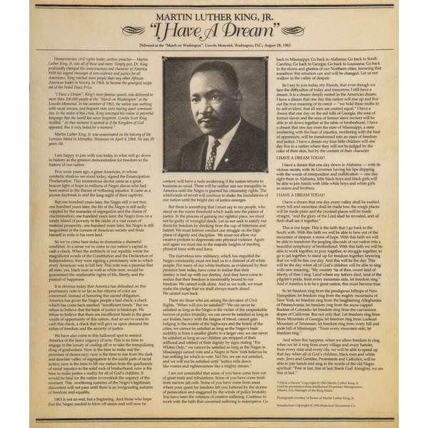 """Civil Rights I Have A Dream 14""""x16"""" Doc In Tube"""