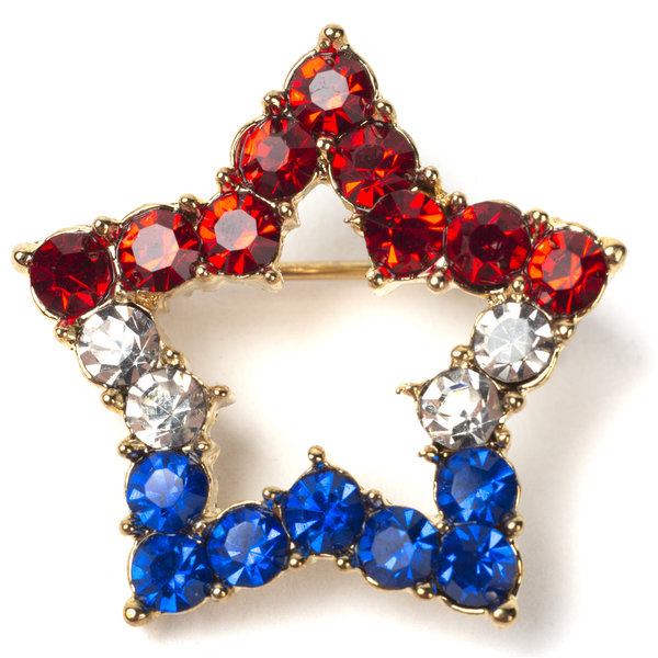 Sale sale-Red White Blue Sparkly Star Brooch