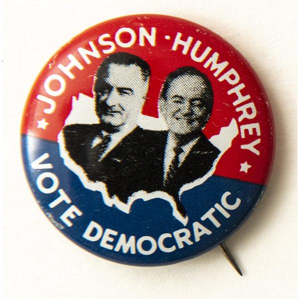 All the Way with LBJ 1964 Johnson Humphrey Vote Democratic Campaign Button