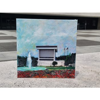 All the Way with LBJ LBJ Library mixed media on 12x12 canvas