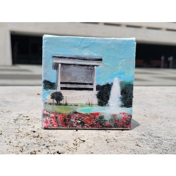 All the Way with LBJ LBJ Library mixed media on 4x4 canvas