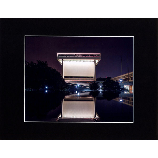All the Way with LBJ LBJ Library Night Reflection Photo 8X10 Signed & Matted