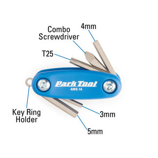 Park Tool AWS-14, Mini folding hex and Torx wrench set, 3mm, 4mm, 5mm, T25 and a combo screwdriver