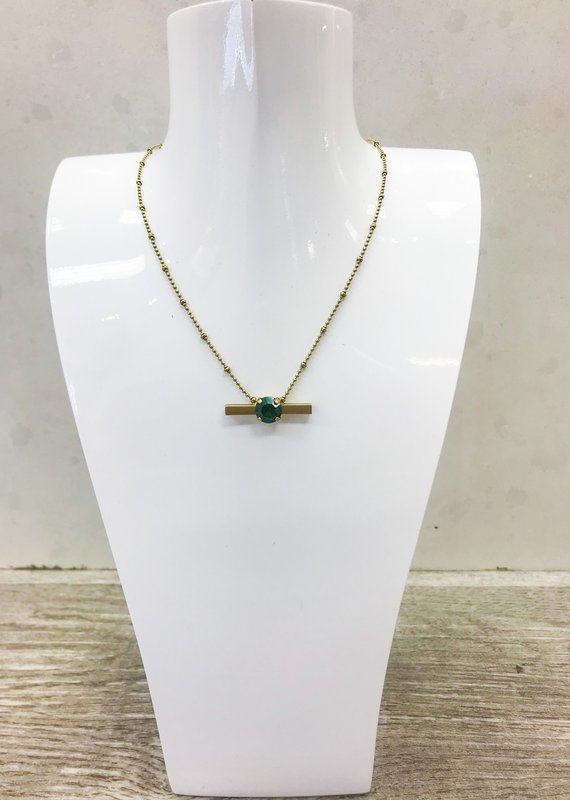 LOREN HOPE Emerald Bar Necklace