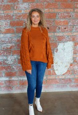 Zenana Autumn Bell Sleeve Cable Knit Sweater