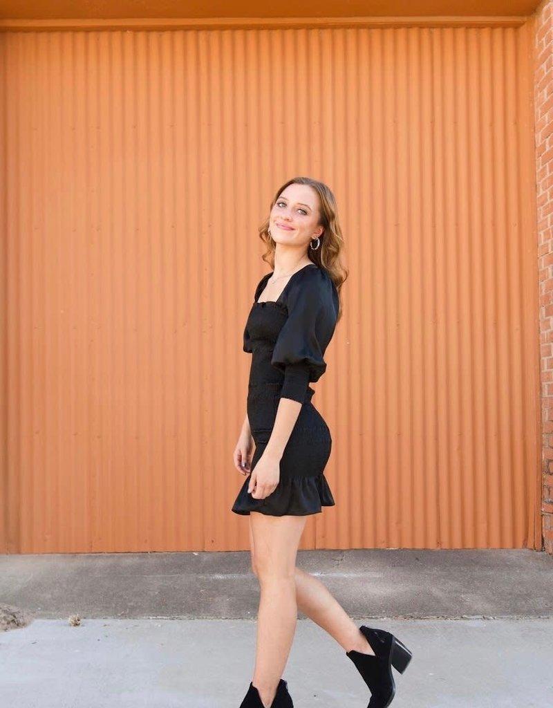 QUARTER TO FIVE Satin & Sheered Mini Dress