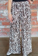FIFTEEN TWENTY Snake Print Wide-leg Pants