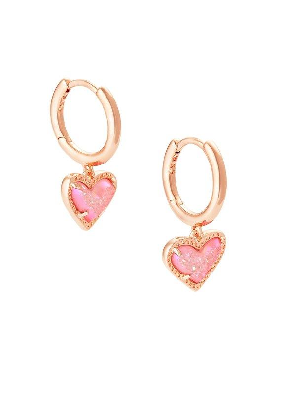 KENDRA SCOTT Ari Heart Rose Gold Huggie Earrings