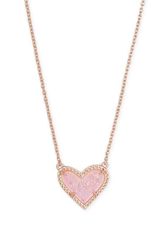 KENDRA SCOTT Ari Heart Rose Gold Pendant Necklace