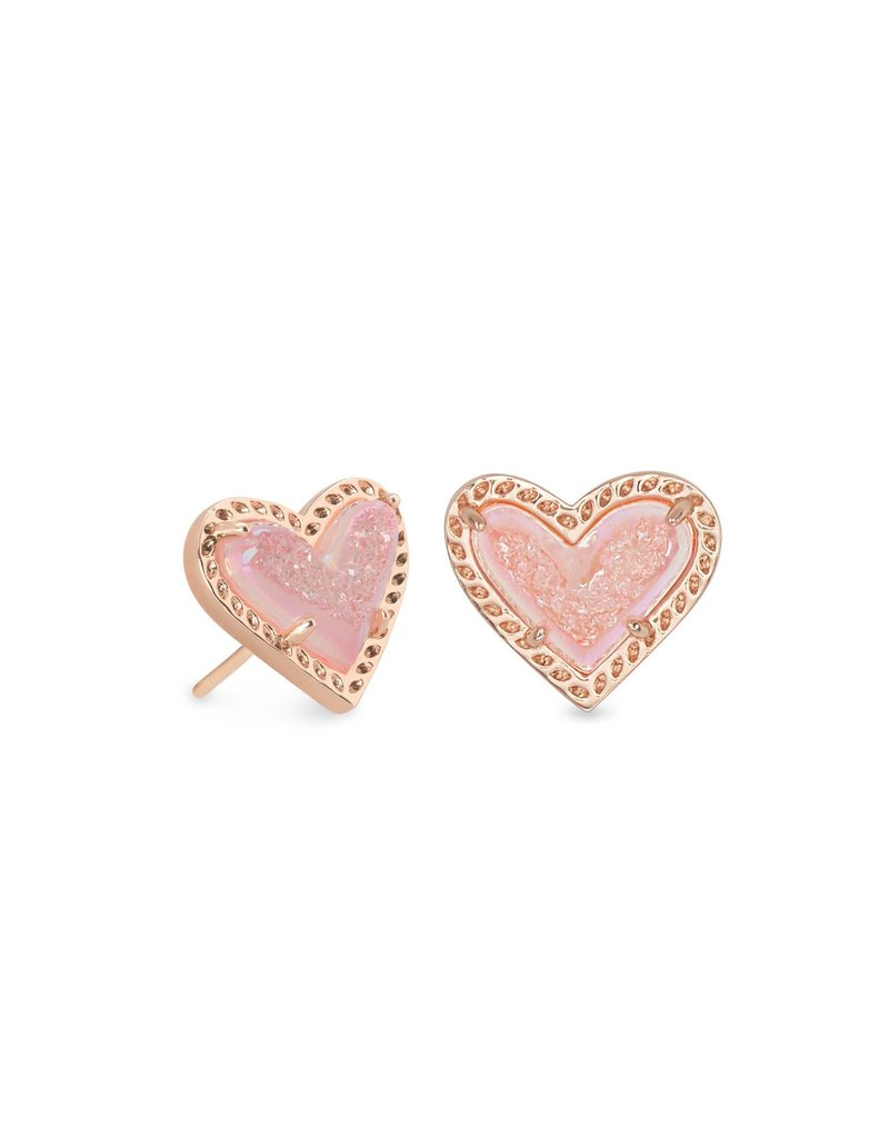 KENDRA SCOTT Ari Heart Rose Gold Stud Earrings