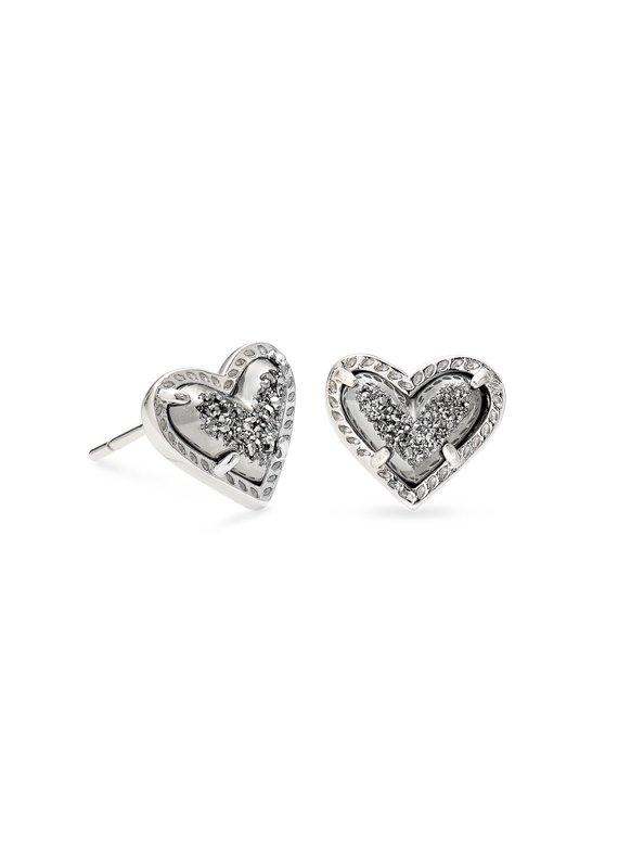 KENDRA SCOTT Ari Heart Silver Stud Earrings
