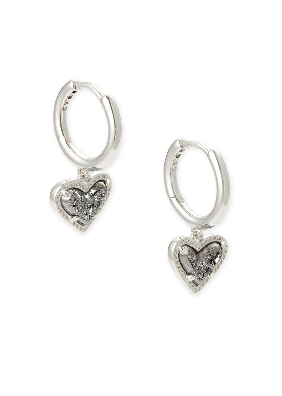 KENDRA SCOTT Ari Heart Silver Huggie Earrings