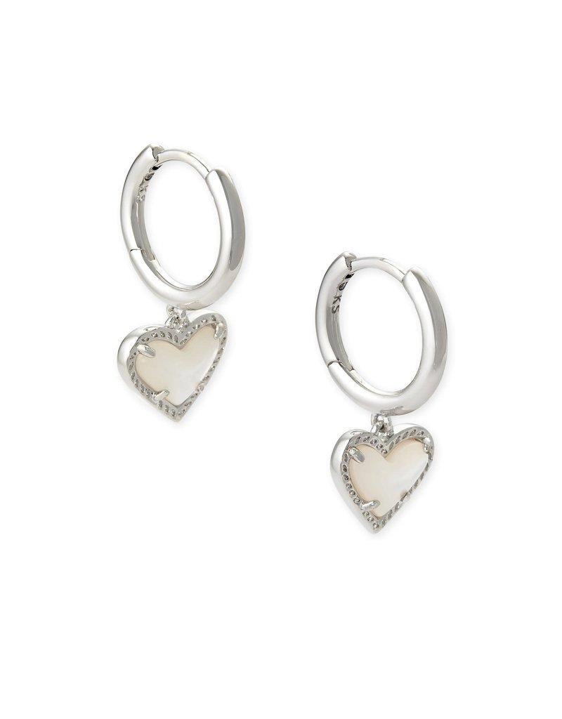 KENDRA SCOTT Ari Heart Silver Huggie Earrings