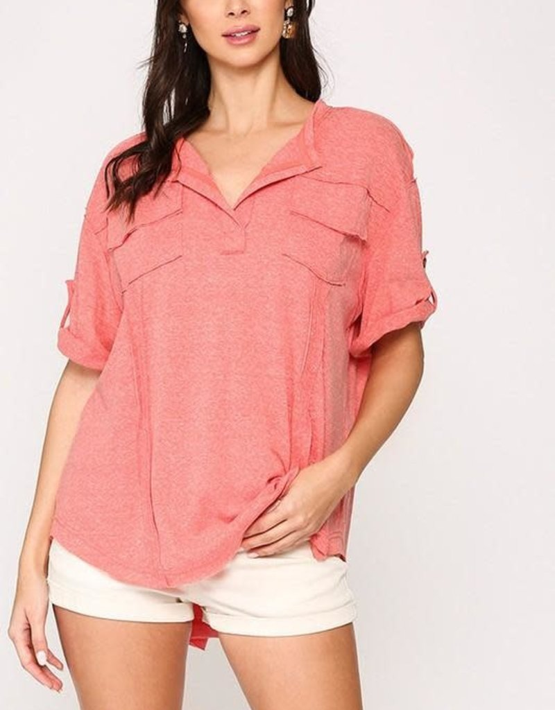 GIGIO Ainslee Roll-Up Top in Coral