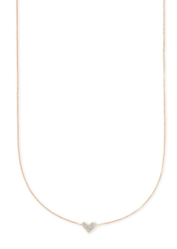 KENDRA SCOTT Heart Pendant Necklace In White Diamonds