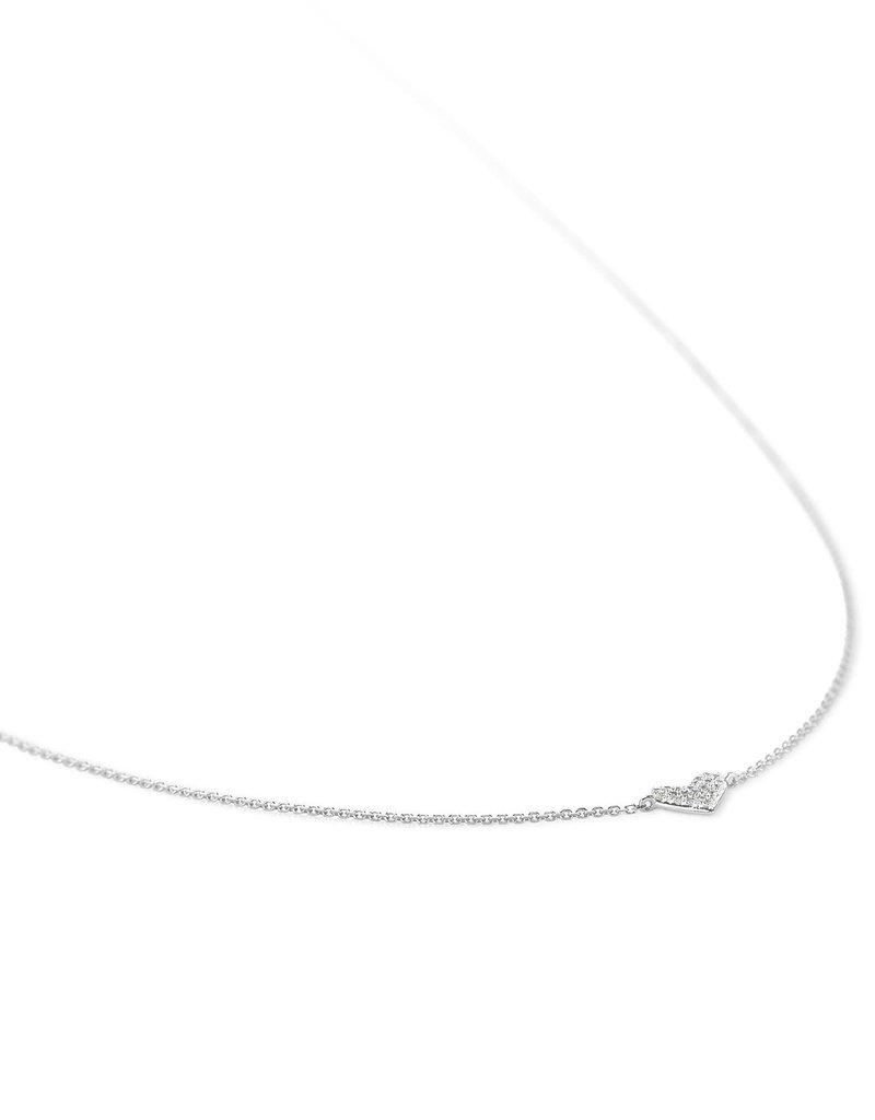 KENDRA SCOTT Heart Pendant Necklace In White Diamonds