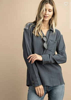 KORI Knit Pocket Blouse