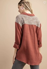 KORI Knit Pocket Blouse