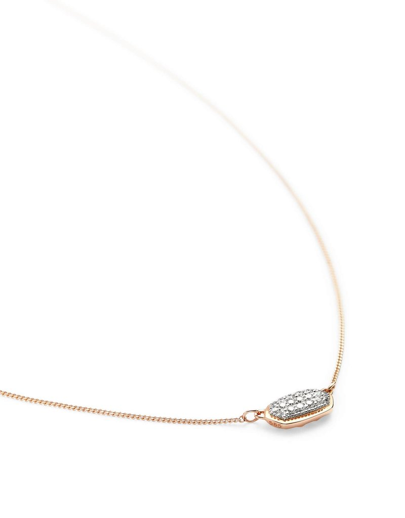 KENDRA SCOTT Lisa Pendant Necklace In Pave Diamond And 14k Rose Gold