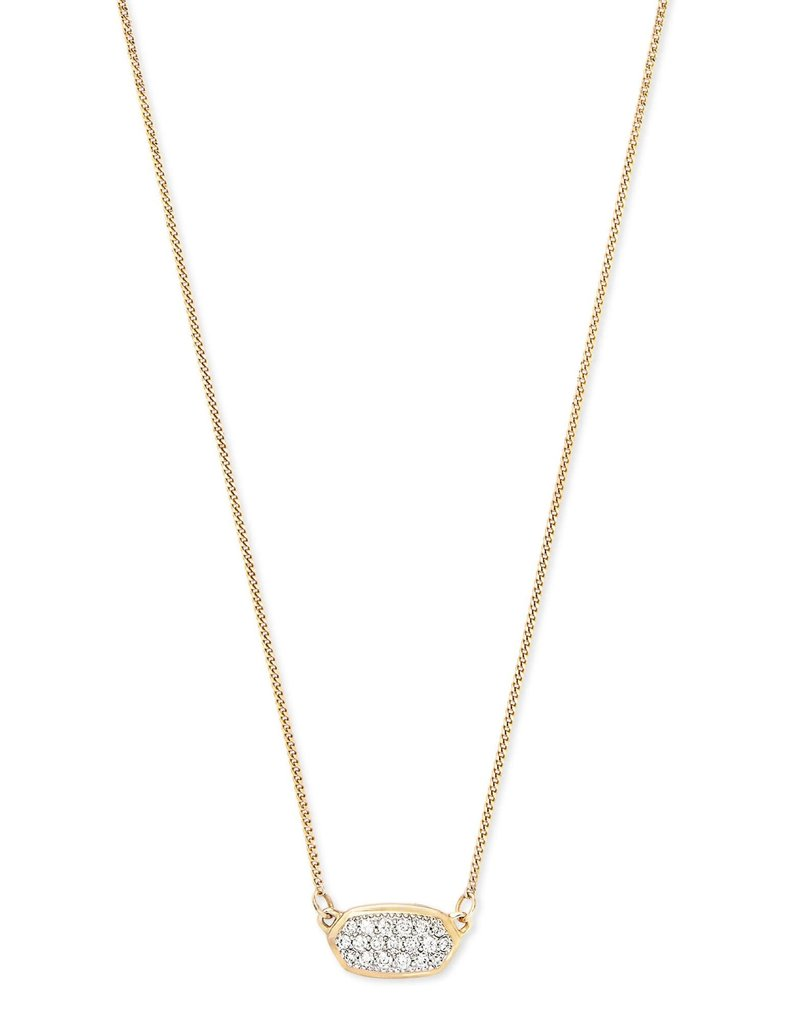 KENDRA SCOTT Lisa Pendant Necklace In Pave Diamond And 14k Yellow Gold