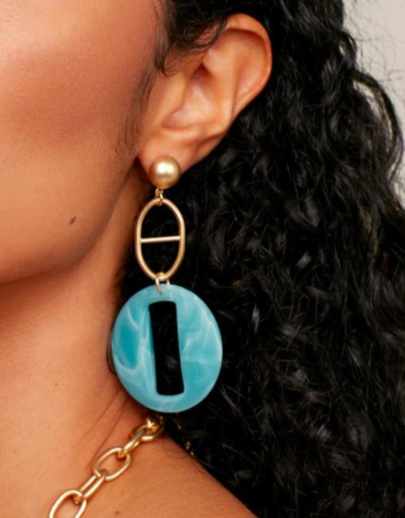 ZENZII Marble Resin Link Earrings
