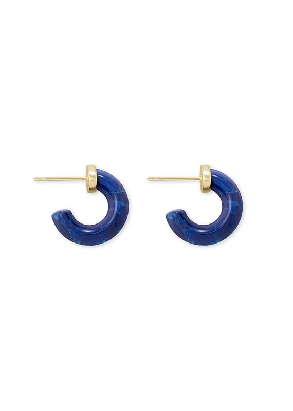 KENDRA SCOTT Mikki Gold Huggie Earrings in Cobalt Howlite