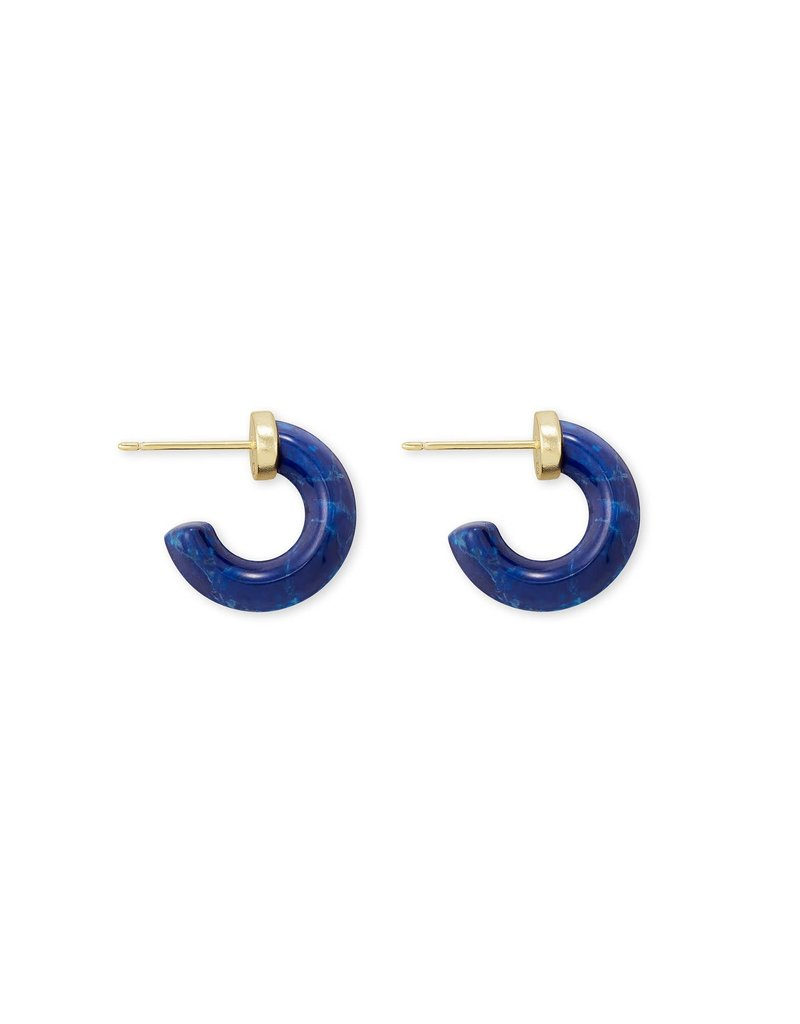 KENDRA SCOTT Mikki Gold Huggie Earrings in Cobalt Howlite