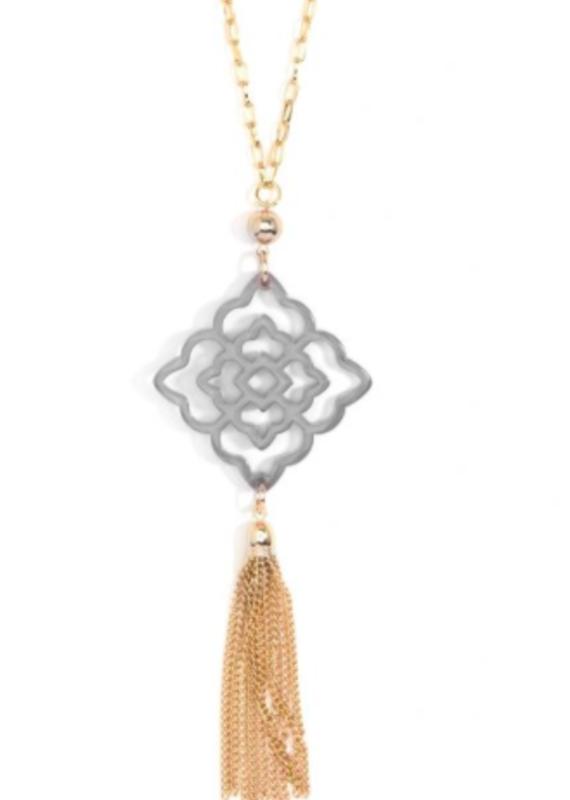 ZENZII Rose Pendant Tassel Necklace