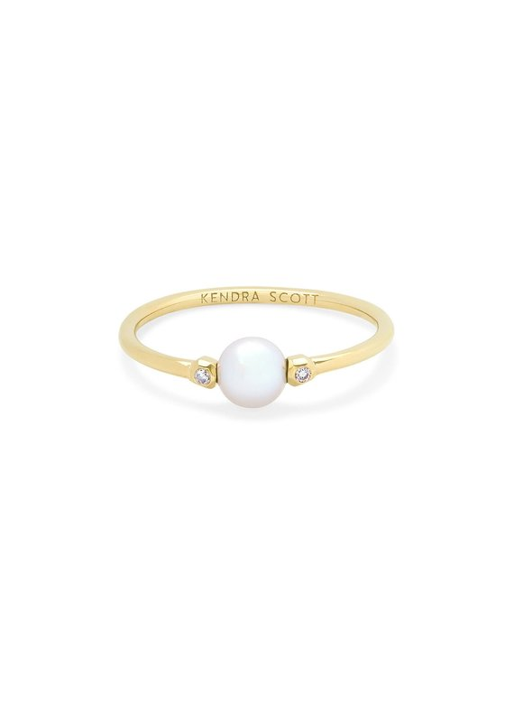 KENDRA SCOTT Cathleen 14k Yellow Gold Band Ring In Pearl