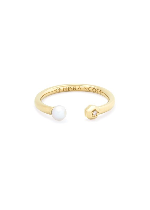 KENDRA SCOTT Cathleen 14k Yellow Gold Open Ring In Pearl