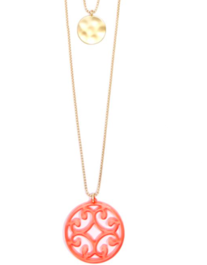 ZENZII Circle Scroll Coin Layered Necklace