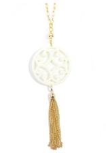 ZENZII Circle Scroll Pendant Tassel Necklace