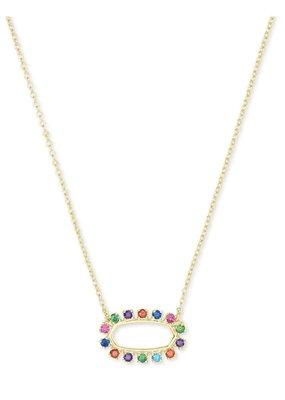 KENDRA SCOTT Elisa Open Frame Multi Crystal Pendant Necklace