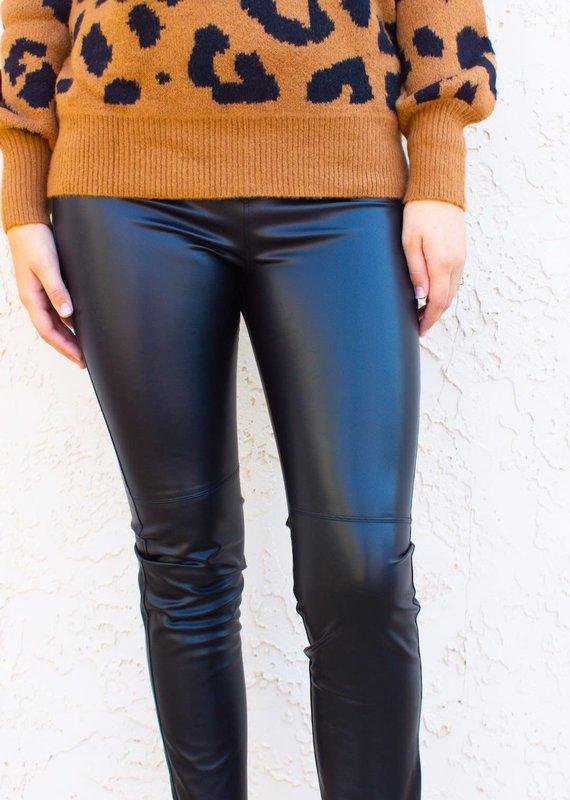 DAVID LERNER Gemma High Waisted Faux Leather Leggings