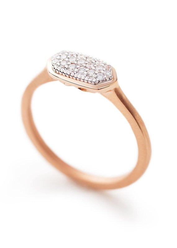 KENDRA SCOTT Isa Ring In Pave Diamond And 14k Rose Gold
