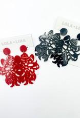LOLA & LINA Raider Red Large Dangle Acrylic Earrings