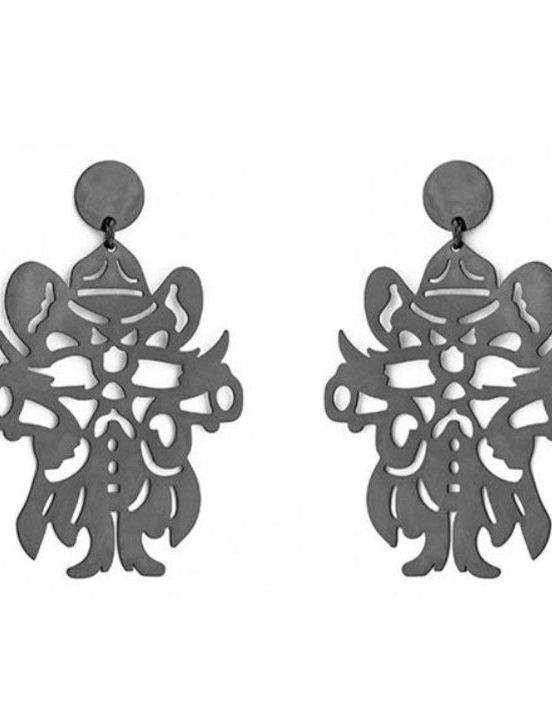 LOLA & LINA Raider Red Large Dangle Earrings
