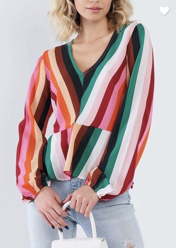 KORI Rainbow Peplum Top