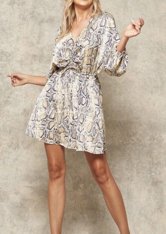 LEMON TREE Olivia Snake Print Mini Dress