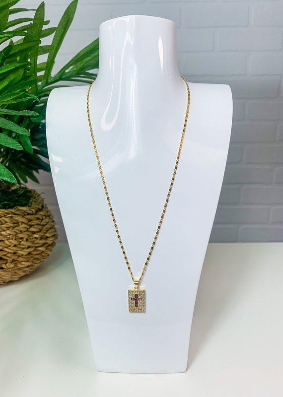 GEMELLI Jeweled Cross Necklace