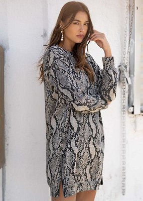 FIFTEEN TWENTY Zipped Snake Print Dress