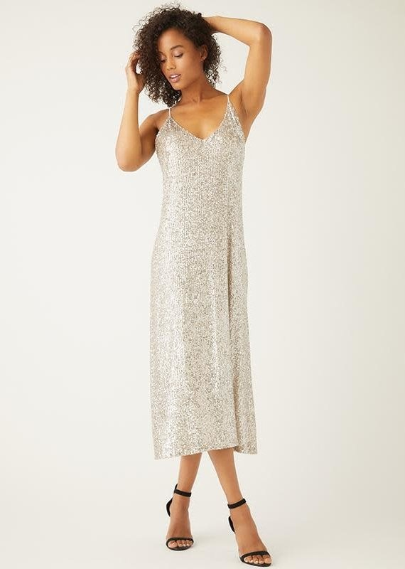 FIFTEEN TWENTY Champagne Sequin Slip Dress