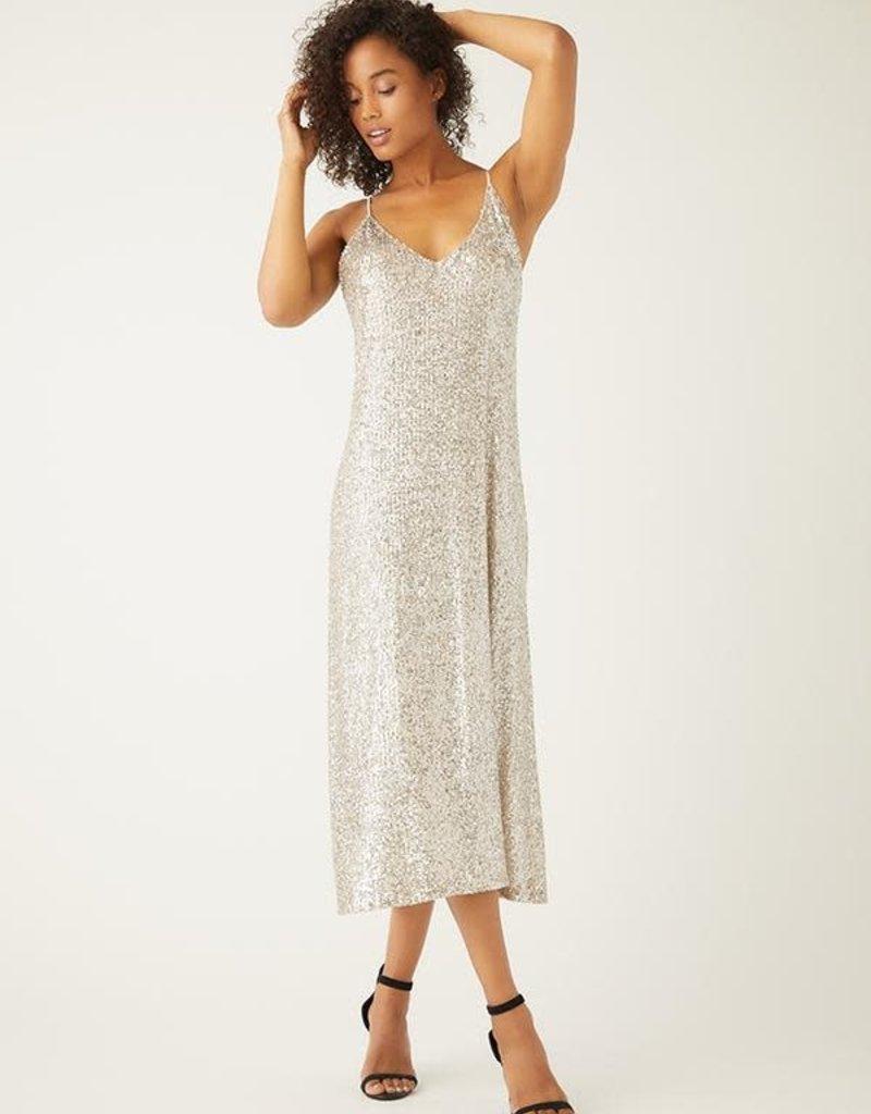 FIFTEEN TWENTY Champagne Sequin Slip Dress
