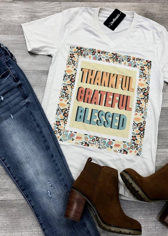 BRANDED COTTON Thankful, Grateful, Blessed Tee