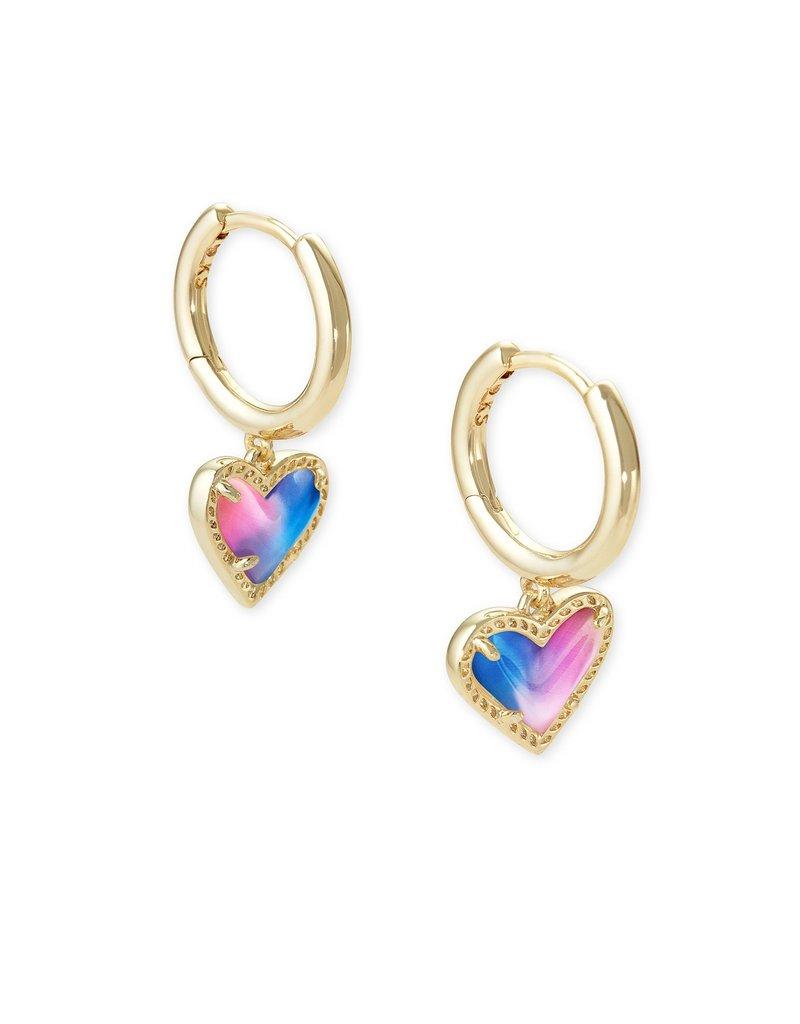 KENDRA SCOTT Ari Heart Gold Huggie Earrings