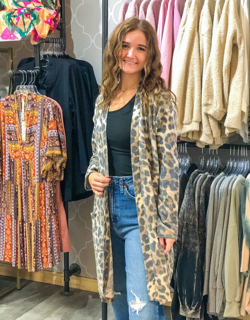 KLD SIGNATURE Liza Brushed Jersey Leopard Print Cardigan