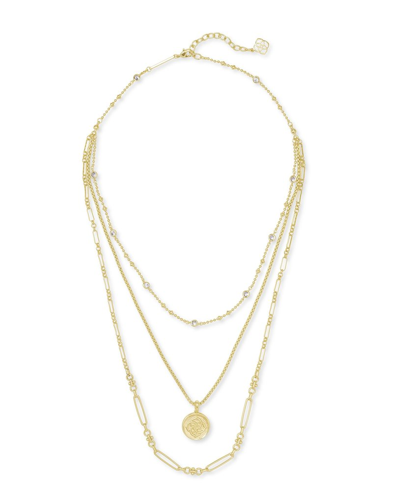 KENDRA SCOTT Medallion Triple Strand Necklace