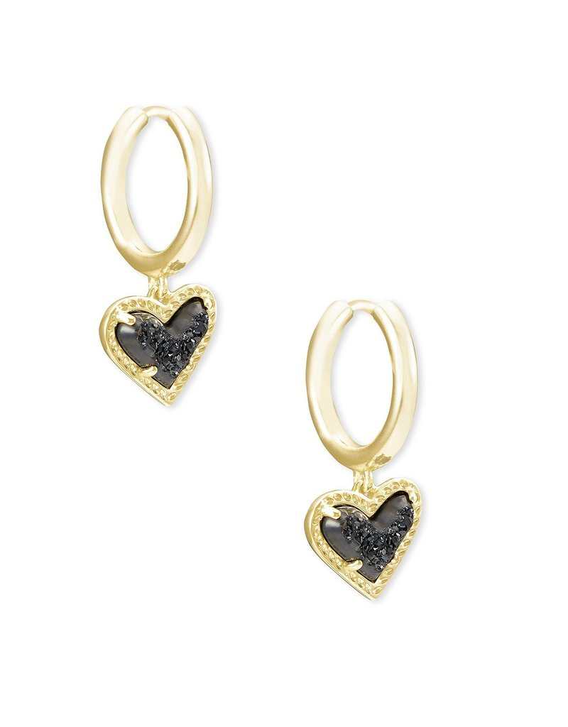 KENDRA SCOTT Ari Heart Gold Huggie Earrings
