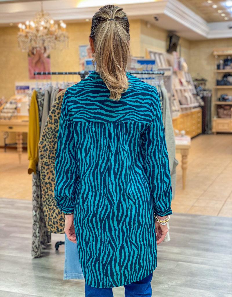 j.hoffman's Teal Side-Button Zebra Tunic